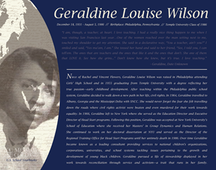 Updated Marquee for Geraldine Louise Wilson (2013)