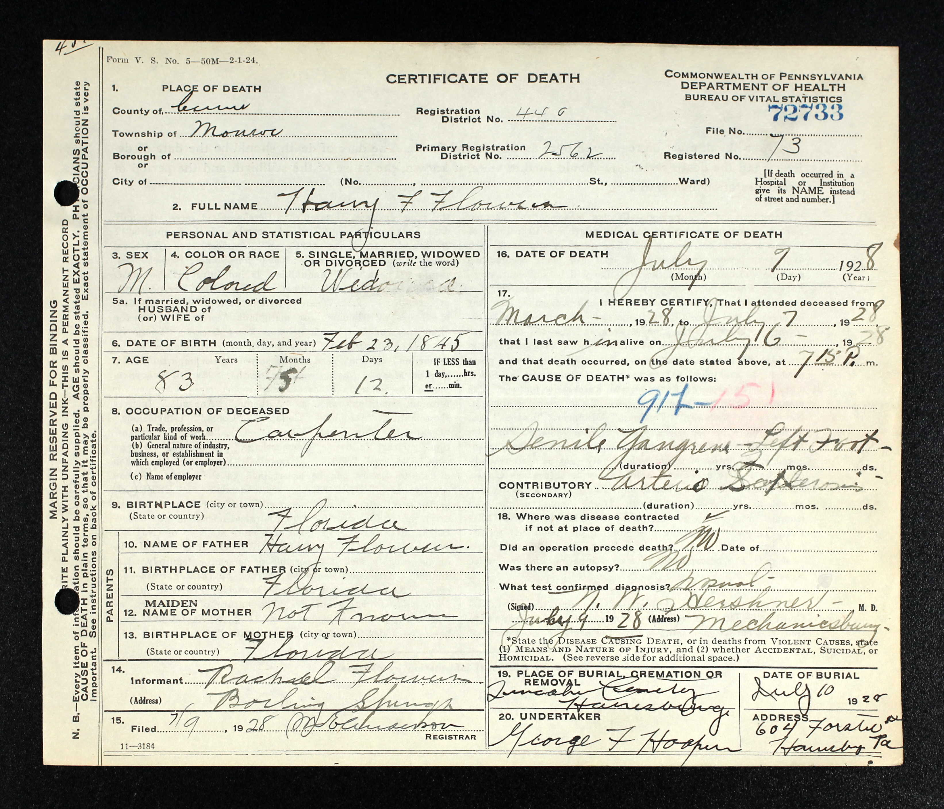 Pennsylvania Death Certificates And The Florida Death Index 1877